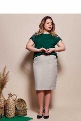 Kobieca elegancka spódnica ołówkowa TR1845 Kawa z mlekiem