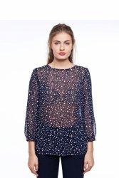 Elegancka bluzka z kwiatowym nadrukiem GR1825 Blue