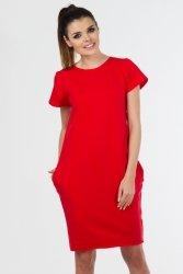 Sukienka dzienna PLUS SIZE 40-54 dzianina dresowa CZERWONA D-021 Duże rozmiary