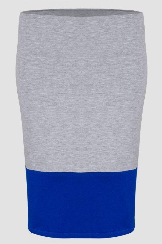 Spódnica dzianinowa DUO S-020 Light Gray Melange/Cornflower