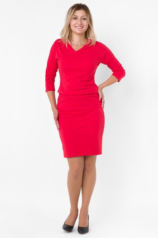 625d9e5291 Sukienka dzienna dresowa D-120 Red PLUS SIZE - XELKA odzież damska online