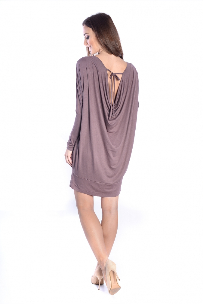 Sukienka-dzienna-plus-size-xl-xxl-tunika-LARA-dla-puszystych-OVERSIZE-wiazana-brazowa-cappucinno