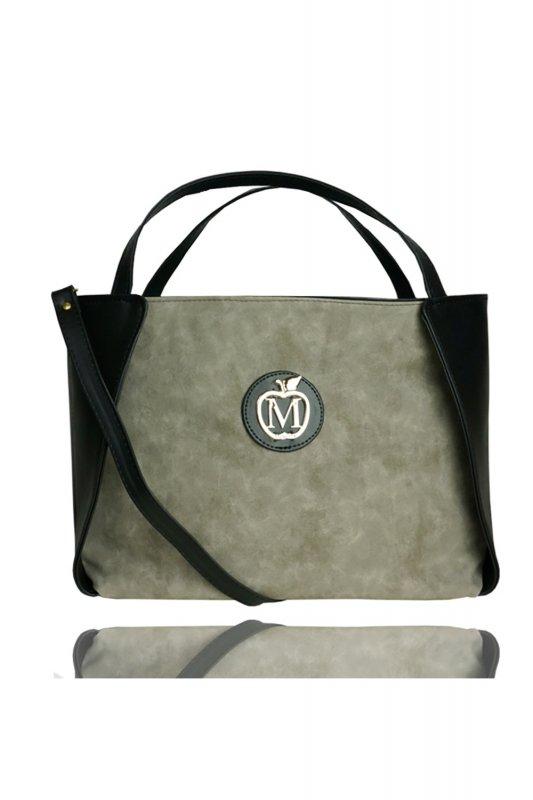 Klasyczny Kuferek muflon siwy/czarna eko skóra 764E Grey