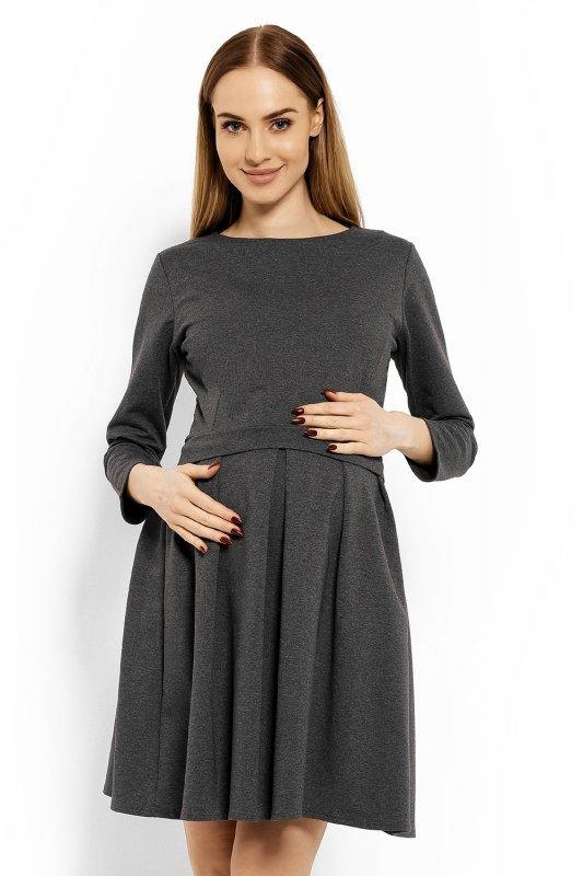 Sukienka-Ciazowa-Model-1628C-Grafit-odziez-ciazowa