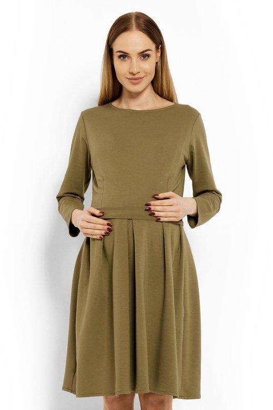 Sukienka-Ciazowa-Model-1628C-Khaki-odziez-ciazowa-przod