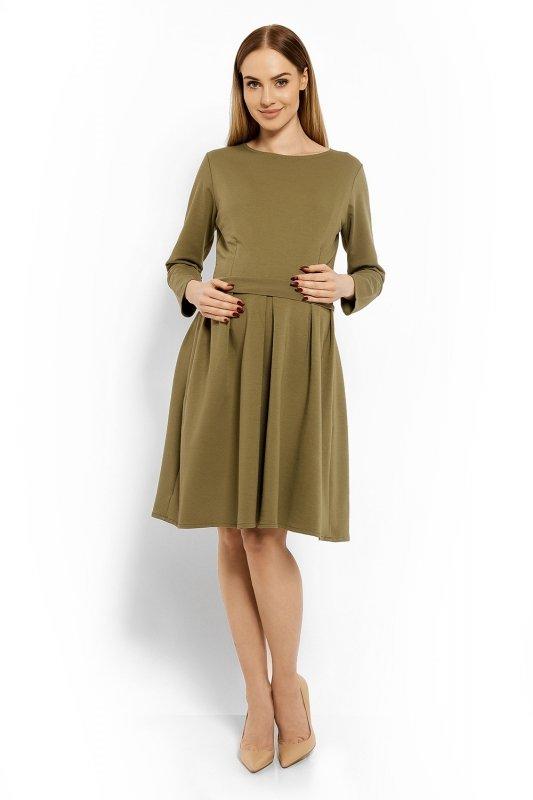 Sukienka-Ciazowa-Model-1628C-Khaki-odziez-ciazowa