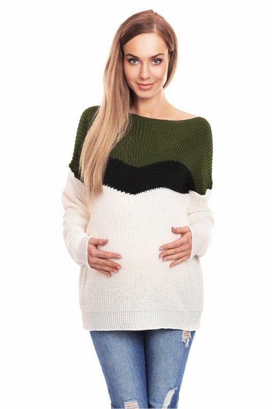 ea448739f3 Sweter damski Ciążowy 40023 Khaki - XELKA odzież damska online ...