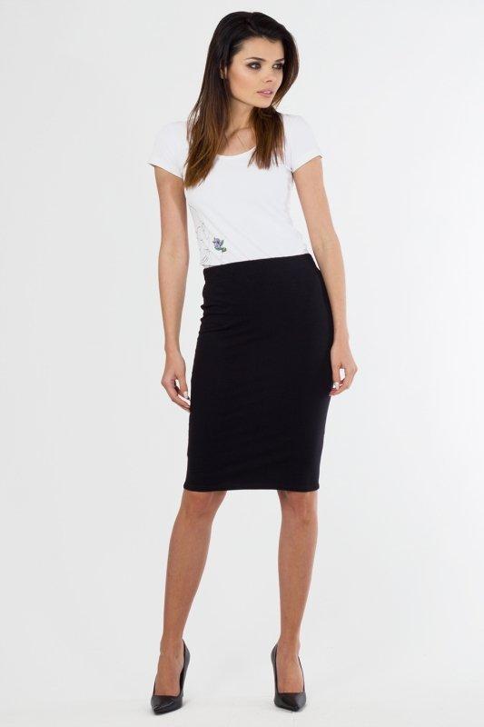 Spódnica damska 36-46 dzianina do pracy S-010 BLACK Plus Size