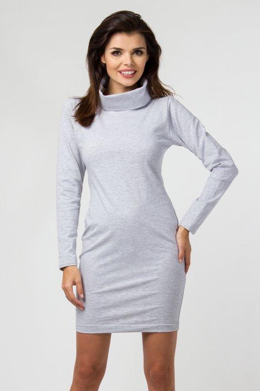 Sukienka dzianinowa M-035 Light Gray Melange