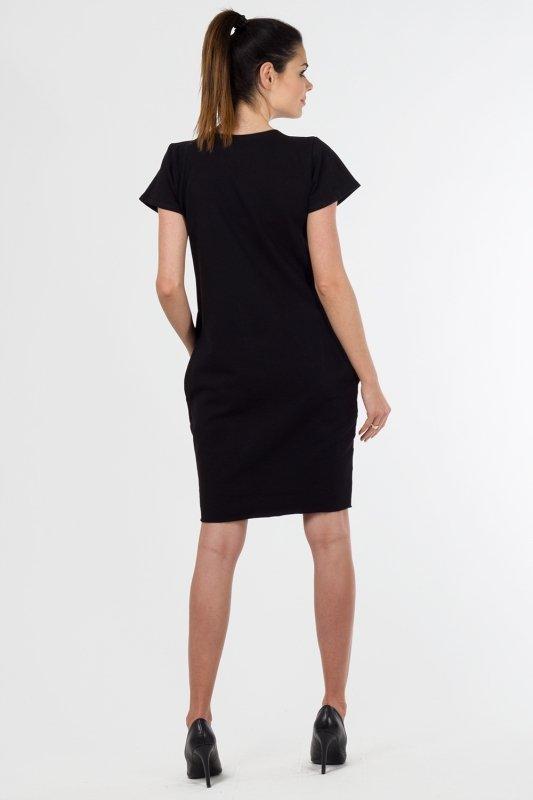 Sukienka dzienna PLUS SIZE 40-54 dresowa CZARNA D-021 Duże Rozmiary
