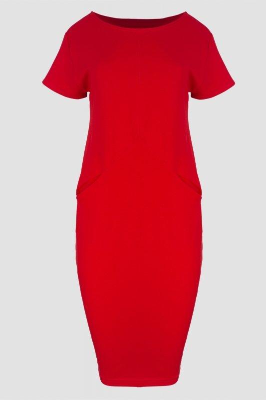 Sukienka-dzienna-plus-size-dresowa-D-041-Red-dzianina-kxxl-xl-do-biura-czerwona-krotki-rekaw