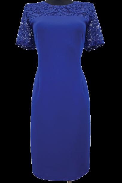 Niebieska sukienka PREMIUM2 koronka krótki rękaw