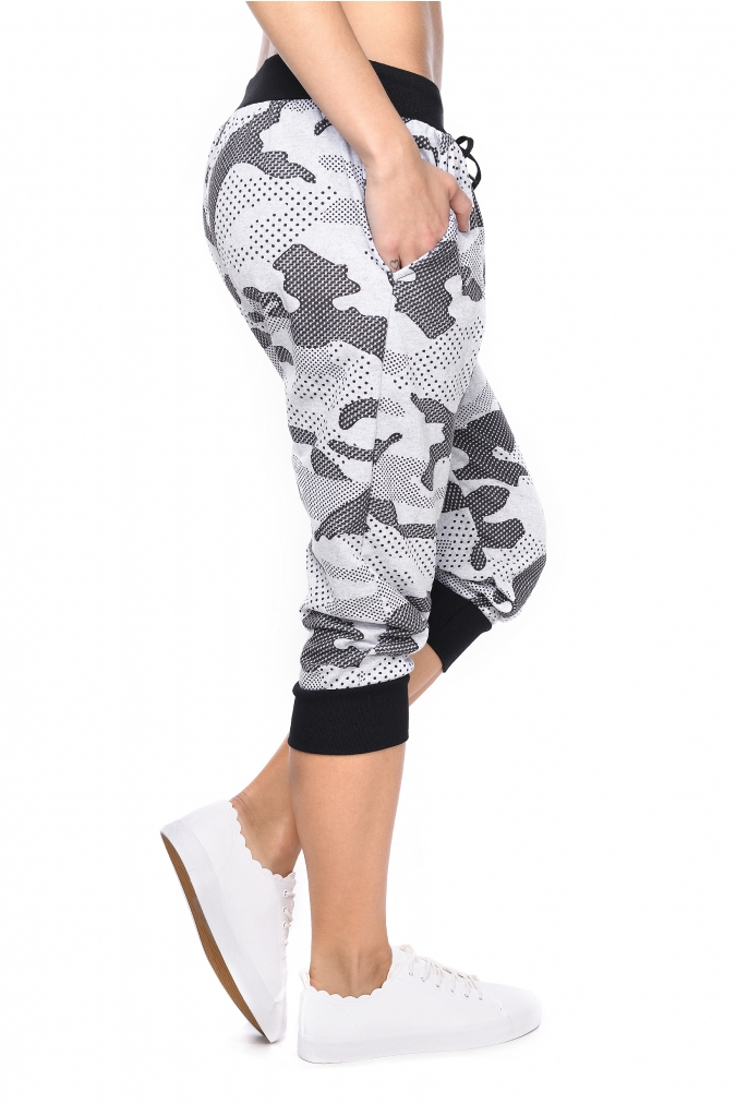 Spodnie-damskie-plus-size-dresowe-S-XL-moro-CAPRI-szare-do-kolan-bok
