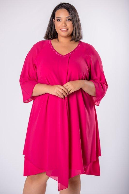 Elegancka-sukienka-xl-xxl-wizytowa-na-wesele-chrzest-komunia-IREXA-trapezowa-granatowa-przod
