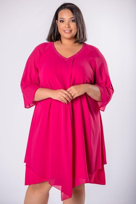 Elegancka-sukienka-xl-xxl-wizytowa-na-wesele-chrzest-komunia-IREXA-trapezowa-roz-fuksja-luzna