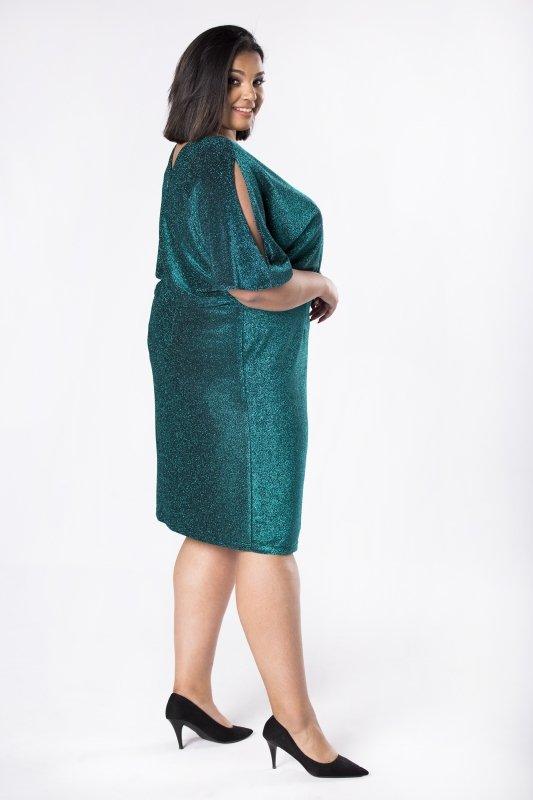Sukienka połyskująca KARTAGINA z rozcięciami