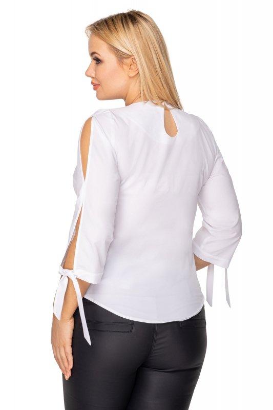 bluzka o koszulowym kroju z rozcięciami na rękawach i wiązaniami przy mankietach