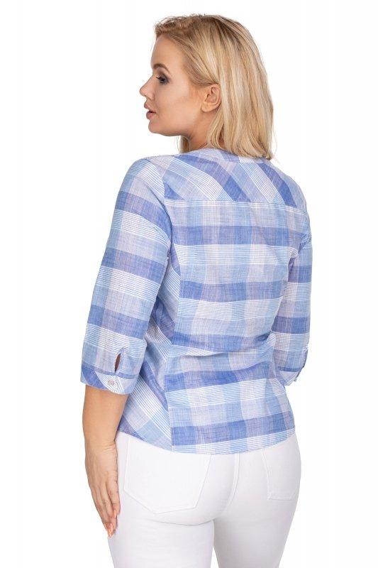 Koszula-damska-plus-size-dla-puszystych-xl-xxl-w-kratke-DOMI-z-kieszenia -tyl