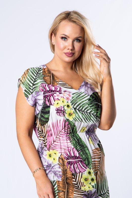 wzorzysta sukienka maxi z gumką w pasie oraz rozcięciami po bokach