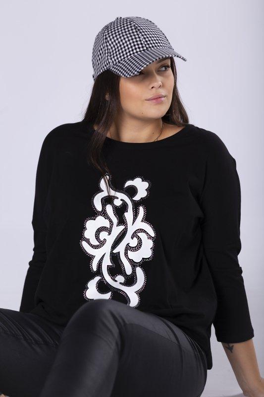 bawełniana bluzka ze ściągaczem na dole oraz ozdobnym nadrukiem