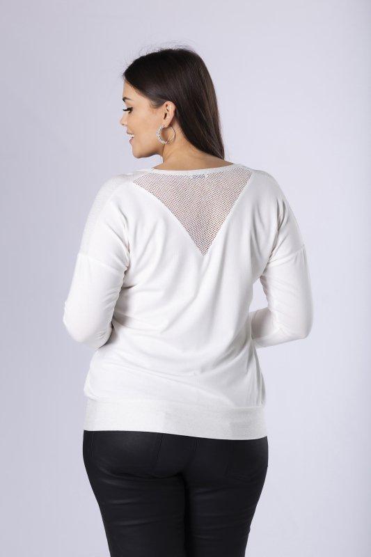 dzianinowa bluzka z kieszeniami na biuście i siateczkową wstawką na ramionach