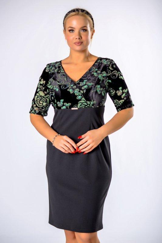 dopasowana sukienka z welurową górą i kopertowym dekoltem
