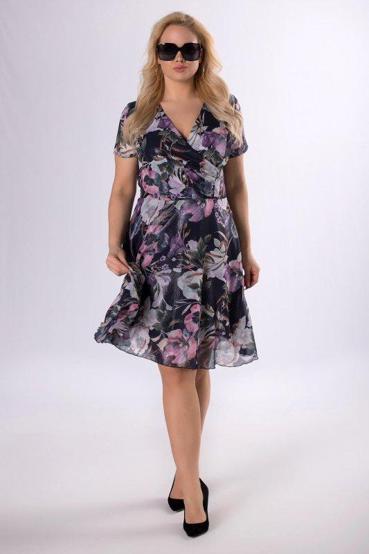 Sukienka szyfonowa AGNES krótki rękaw