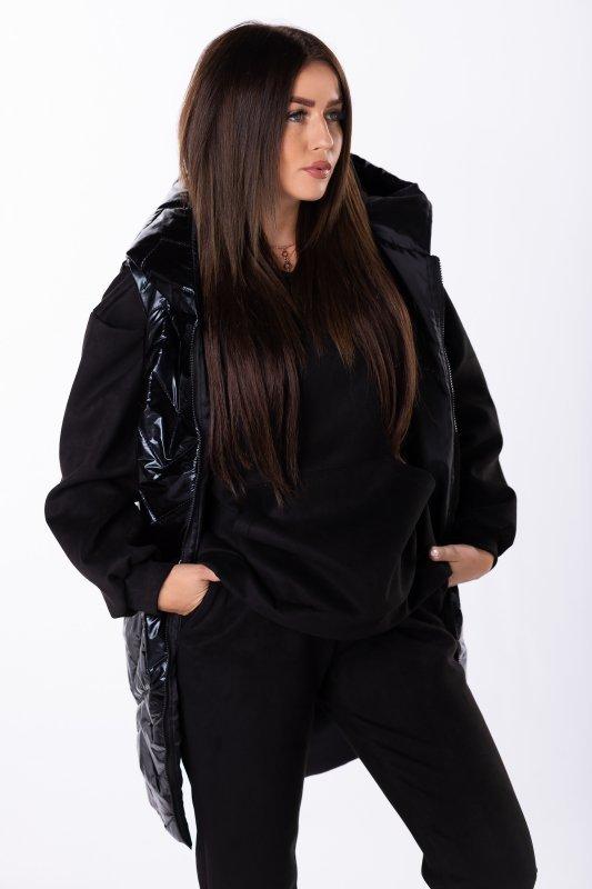 Czarna kamizelka IRIS z kapturem pikowana