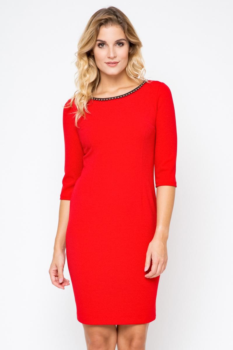 Elegancka-sukienka-xl-XXL-40-56-PLUS-SIZE-perelki-midi-Duze-rozmiary-czerwona