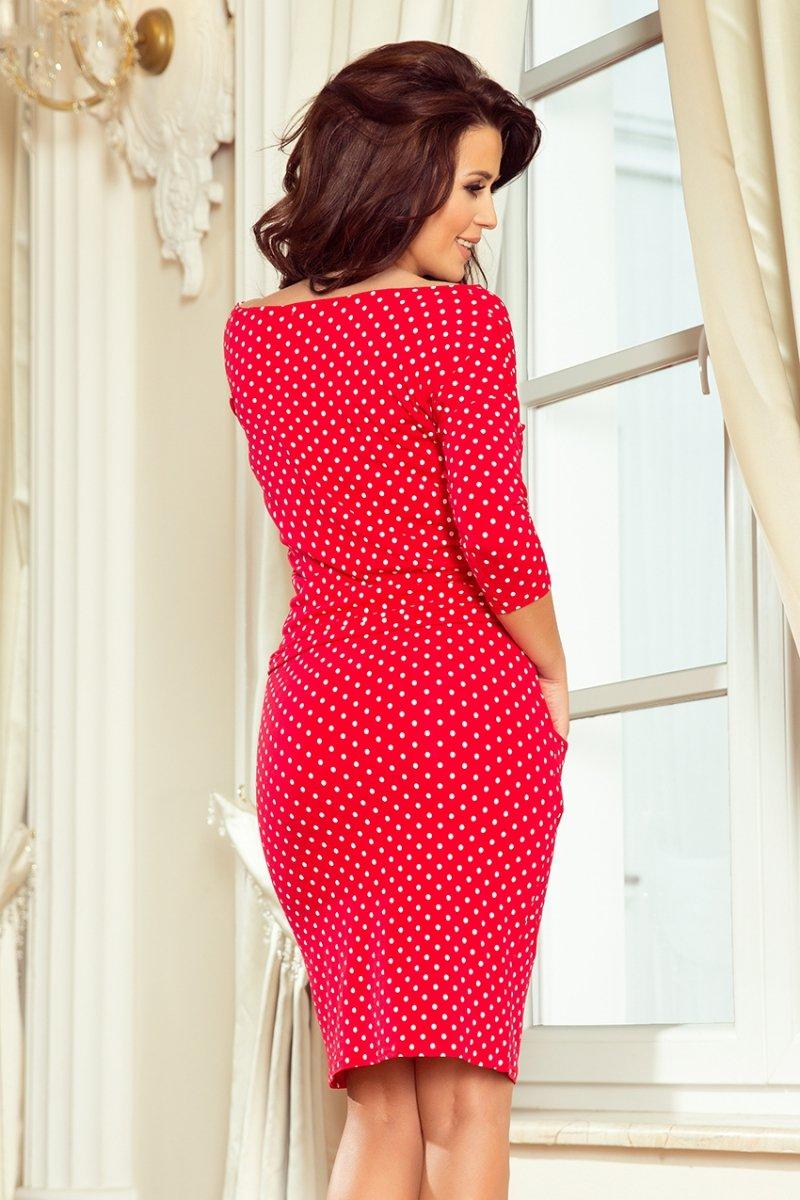 Sukienka dzienna M-XXL czerwona w groszki