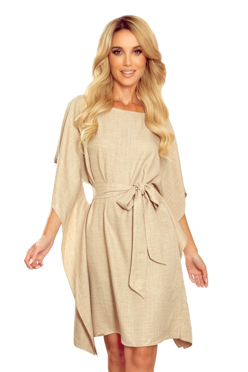 Sukienka-elegancka-plus-size-SOFIA-motyl-maskujaca-luzna-bezowa-len