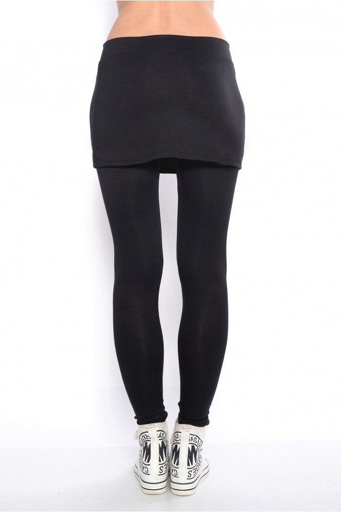 Legginsy damskie S-3XL czarne długie Spódnica