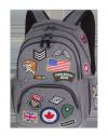 Plecak szkolny młodzieżowy COOLPACK BENTLEY szary w znaczki, BADGES GREY (89494CP)