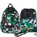 ZESTAW 3 el. Plecak szkolny ST.RIGHT młodzieżowy w zielone klocki 3D, GREEN 3D BLOCKS BP4 (26265SET3CZ)