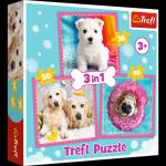 TREFL Puzzle 3 w 1 Pieski w kąpieli (34845)