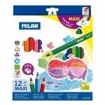 Kredki ołówkowe MAXI Milan 12 kolorów trójkątne (0722612)