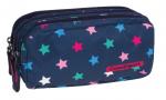 Piórnik trzykomorowy saszetka COOLPACK PRIMUS granatowy w kolorowe gwiazdki, STARS 1002 (71758)