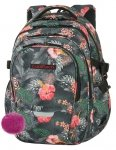 Plecak CoolPack FACTOR kwiaty na grafitowym tle, CORAL HIBISCUS + pompon (85608CP)
