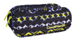 Piórnik CoolPack CLEVER dwukomorowy saszetka niebiesko - żółte wzory, TIE DYE BLUE 740 (73080)