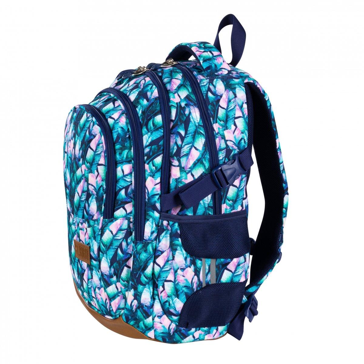 Plecak szkolny młodzieżowy ST.RIGHT w błękitne liście, BLUE