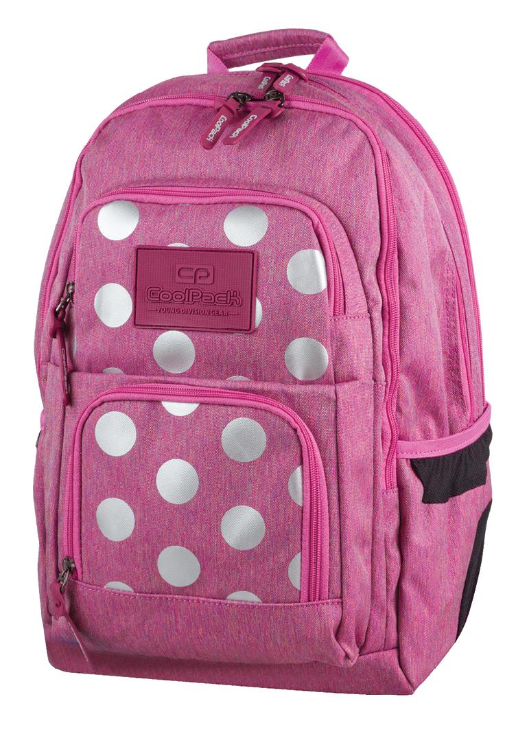 052b5b35bdd60 Plecak szkolny młodzieżowy COOLPACK UNIT różowy w kropki, SILVER ...