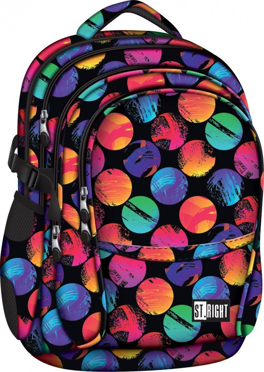 7d6605f45775c Plecak szkolny młodzieżowy ST.RIGHT w kolorowe koła, COLOURFUL DOTS BP1  (17621)