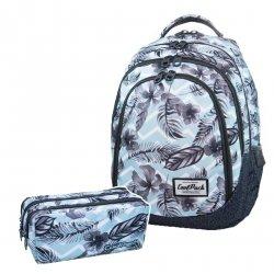 ZESTAW 2 el. Plecak CoolPack DRAFTER w kwiatki na błękitnym tle, SURF PALMS (B05021SET2CZ)