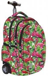Plecak szkolny młodzieżowy na kółkach ST.RIGHT w egzotyczne rośliny i flamingi, FLAMINGO PINK & GREEN TB1 (19403)