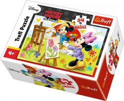 TREFL Puzzle mini 54 el. Myszka Mickey, Malarz (19554)