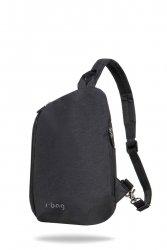 Plecak męski z wodoodporną tkaniną i USB Switch Black Black Czarny R-Bag (Z141)