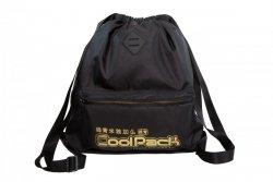 Plecak Sportowy Worek na sznurkach CoolPack URBAN czarny ze złotymi dodatkami, SUPER GOLD (A46117)