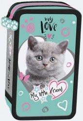 Piórnik trójkomorowy z wyposażeniem My Little Friend CAT MINT Kotek w turkusie (04890)