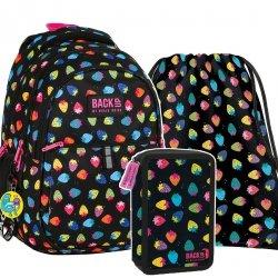 ZESTAW 3 el. Plecak szkolny młodzieżowy BackUP TRUSKAWKI (PB2DW05SET3CZ)