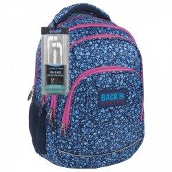 Plecak szkolny młodzieżowy Back UP w drobne niebieskie kwiatki BLUE FLOWERS + słuchawki (PLB1A14)